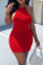 Red Fashion Sexy Solid Backless O Neck Sleeveless Dress