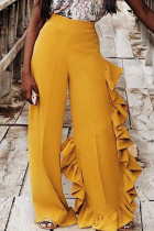 Yellow Elastic Fly Mid Patchwork Loose Pants Pants