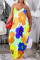 Yellow Fashion Casual Plus Size Print Backless Spaghetti Strap Long Dress