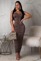 Brown Fashion Sexy Off The Shoulder Sleeveless Wrapped chest Pleated Ankle-Length Draped Patchwo