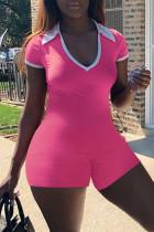 Pink Fashion Casual Solid Basic Turndown Collar Skinny Short Sleeve Romper