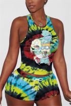 Cartoon Fashion Print Vest Shorts Sports Set