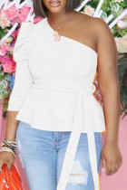 White Fashion Casual Solid Backless Oblique Collar Tops