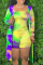 Yellow Sexy Patchwork Tie-dye Strapless Plus Size Two Pieces