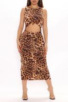 Leopard Print Fashion Sexy Animal Print Print Hollowed Out O Neck Vest Dress