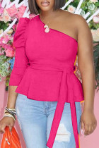 Rose Red Fashion Casual Solid Backless Oblique Collar Tops