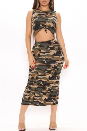 Camouflage Fashion Sexy Animal Print Print Hollowed Out O Neck Vest Dress