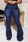 Deep Blue Street Butterfly Print Split Joint Plus Size Jeans