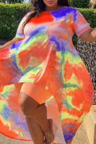Orange Fashion Casual Print Tie Dye Asymmetrical O Neck Plus Size Two Pieces