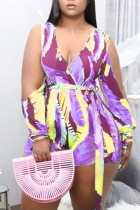 Purple Fashion Casual Print Hollowed Out V Neck Plus Size Romper