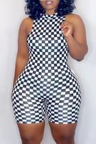 Black White Fashion Casual Plaid Print Basic O Neck Plus Size Romper