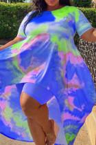 Blue Fashion Casual Print Tie Dye Asymmetrical O Neck Plus Size Two Pieces