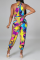 Colour Sexy Print Hollowed Out Halter Skinny Jumpsuits