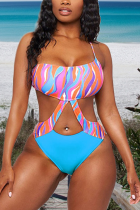 Blue Sexy Print Hollowed Out Draw String Swimwears