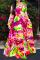 Red Casual Print Split Joint V Neck Cake Skirt Dresses