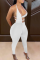 White Sexy Solid Hollowed Out Halter Skinny Jumpsuits
