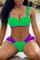Fluorescent Green Sexy Solid Split Joint Flounce Swimwears