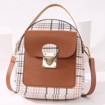 Brown Fashion Casual Patchwork Zipper Backpack