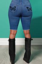 Medium Blue Casual Butterfly Print Split Joint Mid Waist Skinny Denim Shorts