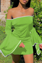 Light Green Sexy Solid Split Joint Strapless Pencil Skirt Dresses