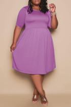 Purple Fashion Casual Plus Size Solid Basic O Neck Short Sleeve Dress (No Pocket)