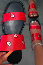 Red Fashion Casual Split Joint Comfortable Out Door Slippers
