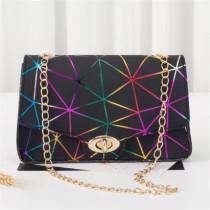 Black Purple Fashion Casual Print Chains Messenger Bags