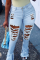 Baby Blue Casual Solid Ripped Mid Waist Boot Cut Denim Jeans