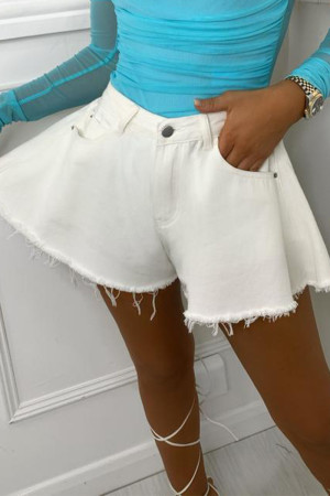 White Casual Solid Split Joint Loose High Waist Speaker Solid Color Bottoms