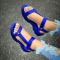 Blue Hollowed Out Split Joint Opend Out Door Shoes
