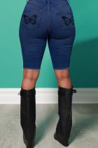 Deep Blue Casual Butterfly Print Split Joint Mid Waist Skinny Denim Shorts
