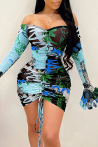 Blue Sexy Print Split Joint Draw String Off the Shoulder Sheath Dresses