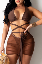 Dark Brown Sexy Solid Split Joint Swimwears