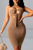 Khaki Sexy Solid Hollowed Out Strapless Pencil Skirt Dresses