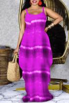 Purple Fashion Sexy Print Backless Spaghetti Strap Long Dress