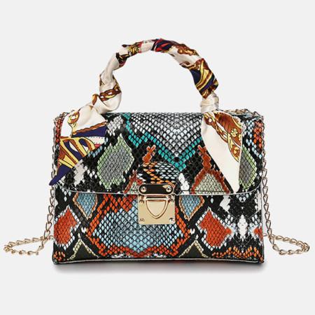 Orange Fashion Casual Animal Print Chains Shoulder Messenger Bag