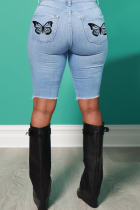 Light Blue Casual Butterfly Print Split Joint Mid Waist Skinny Denim Shorts