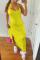 Yellow Sexy Solid Flounce Spaghetti Strap Irregular Dress Dresses