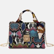 Blue Fashion Casual Animal Print Chains Shoulder Messenger Bag