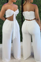 White Fashion Sexy Solid Bandage Backless Strapless Sleeveless Two Pieces