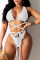 White Sexy Solid Split Joint Swimwears
