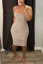 Light Brown Fashion Sexy Solid Backless Spaghetti Strap Sleeveless Dress