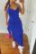 Deep Blue Sexy Solid Flounce Spaghetti Strap Irregular Dress Dresses