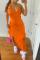 Tangerine Red Sexy Solid Flounce Spaghetti Strap Irregular Dress Dresses