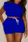 Blue Casual Solid Split Joint O Neck Sleeveless Two Pieces