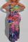 Pink Fashion Sexy Plus Size Print Backless Slit V Neck Sling Dress