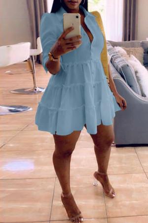 Sky Blue Fashion Casual Solid Turndown Collar Shirt Dress