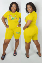 Yellow adult Fashion Active Letter Two Piece Suits Patchwork Print pencil Short Sleeve Two-Piece