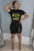 Black Fashion OL adult Cap Sleeve Short Sleeves O neck Step Skirt Mini Letter Bowknot Patchwork