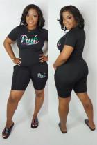 Black adult Fashion Active Letter Two Piece Suits Patchwork Print pencil Short Sleeve Two-Piece